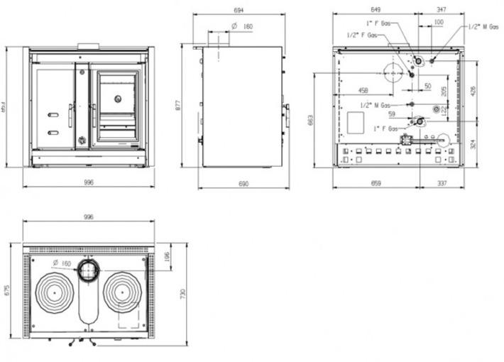 La Nordica Italy Termo DSA do zabudowy Piec kuchenny z płaszczem wodnym